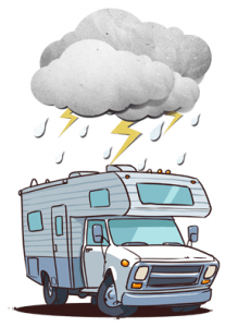An RV in bad weather