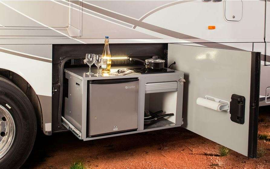 10 RVs With Amazing Outdoor Entertaining & Kitchens – Welcome To Rv Outdoor Kitchen Ideas on camp kitchen box ideas, rv outside kitchen, rv porch ideas, rv kitchen decorating ideas, rv interior storage ideas, rv kitchen remodeling ideas, rv kitchen remodel, rv bbq ideas, rv patio ideas, rv renovation ideas, rv office ideas, rv living room ideas, rv kitchen storage ideas, rv with front kitchen, rv bathroom ideas, rv master bedroom ideas, rv lighting ideas, rv barn ideas, rv kitchen cabinets, rv kitchen units,