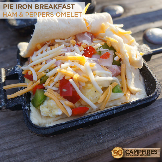 Ham and peppers omelet made in a pie iron