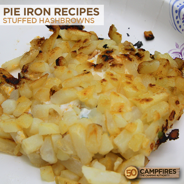 Stuffed hashbrowns made in a pie iron