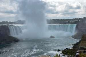 The Maid of the Mist takes visitors in to the mists of the Horseshoe Falls.