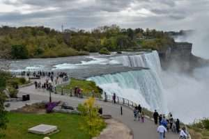 Wide sidewalks allow visitors to explore and take in the beauty of the American Falls.