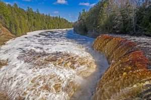 Rushing Waters Over A Flooded Upper Tahquamenon Falls