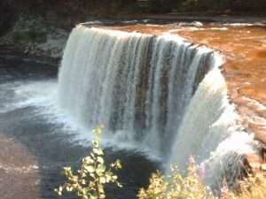 Tahquamenon Falls in the Upper Peninsula is an easy spring getaway for Michigan families.
