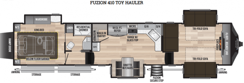 Family fifth wheel Fuzion 410 floor plan