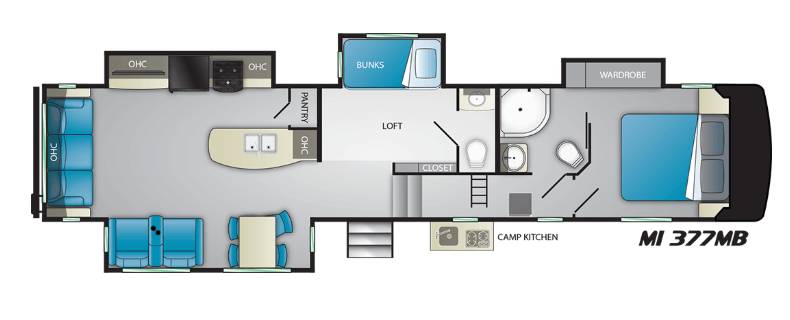 The family-friendly Heartland Milestone 377MB RV floor plan