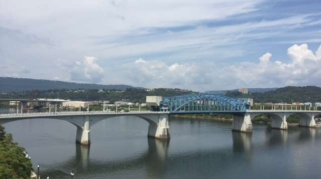 The Market Street Bridge spans the Tennessee River. Plan your spring getaway to Chattanooga for warmer weather and fewer crowds.