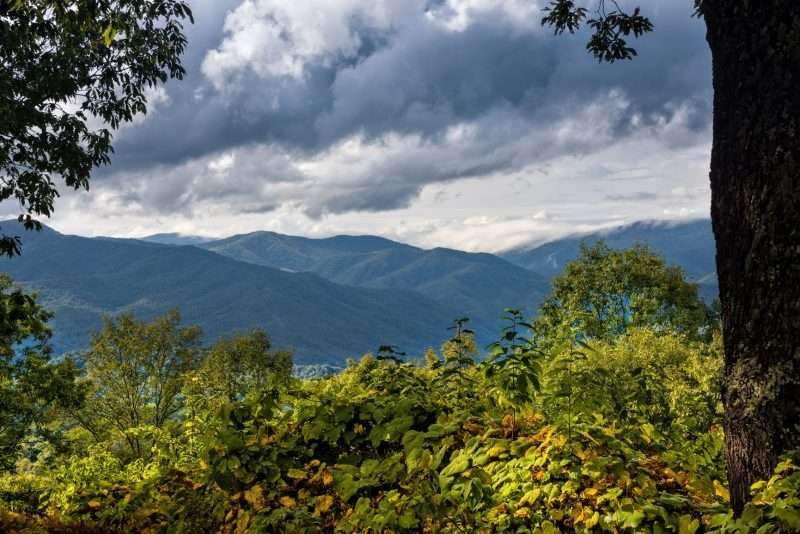 One of the benefits of camping? Spectacular views like this one of the Blue Ridge Mountains from Shenandoah National Park