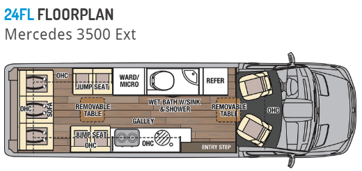 An illustration of the Coachmen Galleria 24FL floorplan is shown. A sofa is located at the rear of the coach. Two sets of jump seats are located on either side of the removable table. Mid cab on the driver's side is a wetbath flanked by a wardrobe and refrigerator. The galley kitchen is located on the passenger side. The two chairs at the front of the RV swivel around to be used with a removable pedestal table.