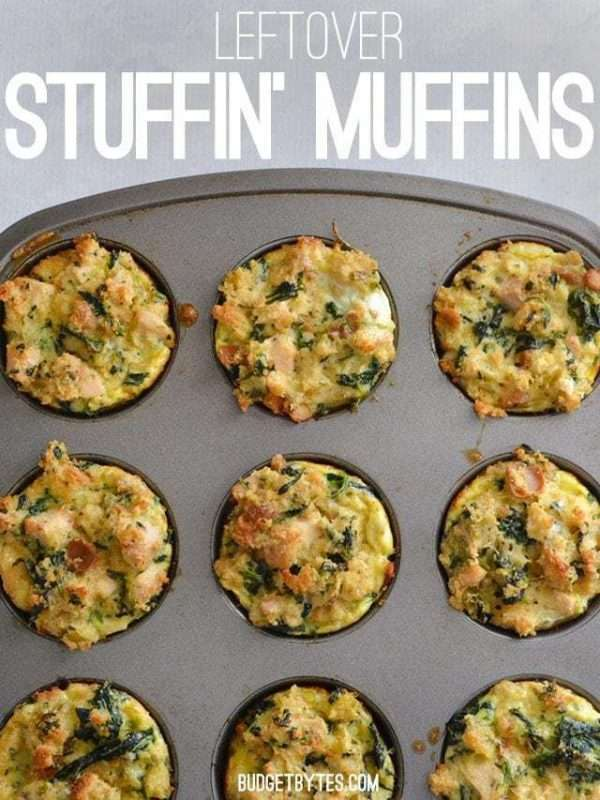 Leftovers from a thanksgiving holiday meal are combined into a muffin pan for this easy Leftover Stuffin' Muffin recipe.