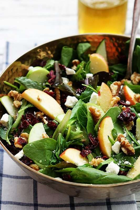 An apple cranberry walnut salad sits in a metallic bowl on a white and black checkered place mat.
