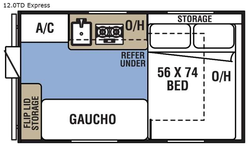 An illustration of the Coachmen Clipper 12.0TD XL popup camper RV floor plan.