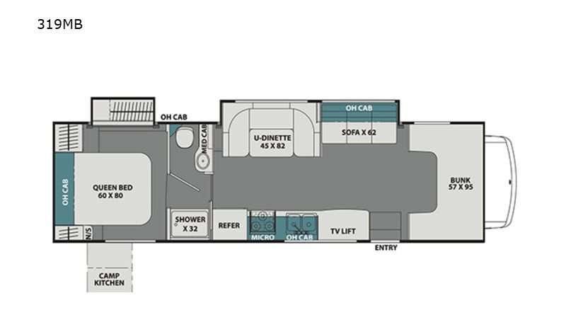 An illustration of the Coachmen Leprechaun 319M Class C RV floor plan.