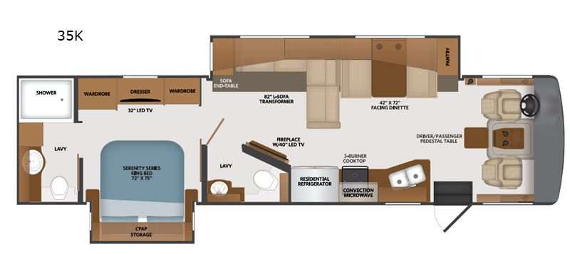 An illustration of the Fleetwood Bounder 35K Class A Motorhome floor plan.