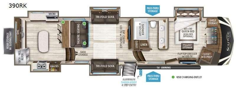 An illustration of the Grand Design Solitude 390RK fifth wheel RV floor plan.