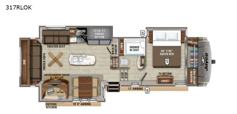 An illustration of the Jayco Eagle 317RLOK fifth wheel RV floorplan.