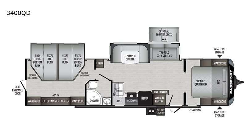 An illustration of the Keystone Passport 3400QD RV floorplan, a bunkhouse travel trailer.