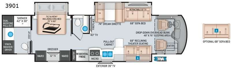 An illustration of the Thor Motor Coach Aria 3901 Class A diesel RV floor plan.