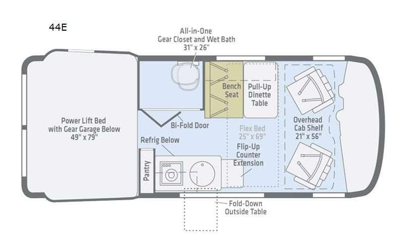 An illustration of the Winnebago Revel 44E Class B motorhome RV floor plan.