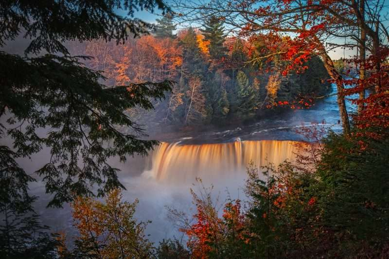 The Upper Tahquamenon Falls viewed from above during the autumn. Two campgrounds - some of Michigan's best - are located at the Lower Falls.