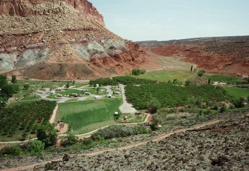 A view of the Fruita Campgrounds along the Scenic Drive at Capital Reef National Park. Various RVs are nestled within the lush green campground which is surrounded by the red rock Utah landscape.