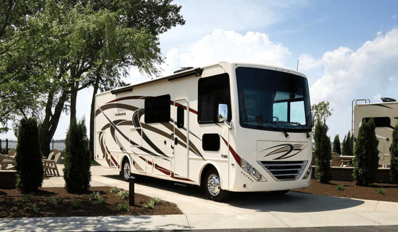 An RV on site at Lighthouse Point Campground in Ohio.