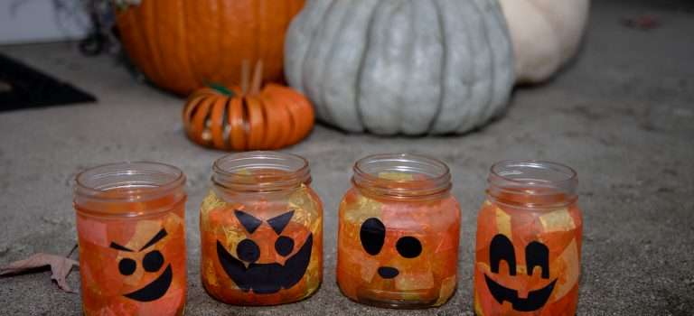 Mason Jar Pumpkins: Two easy Halloween crafts for kids and adults