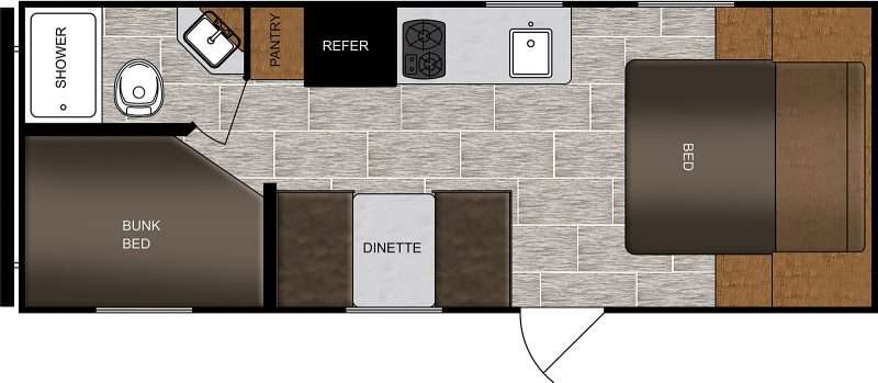 A floorplan diagram of the Prime Time Avenger LT 22BH floorplan. The rear of the trailer has a set of bunk beds across from the bathroom. In the mid-cabin area, there is a galley kitchen with a refrigerator and pantry opposite a booth dinette. A full-size bed at the front of the trailer rounds out this family-friendly RV.