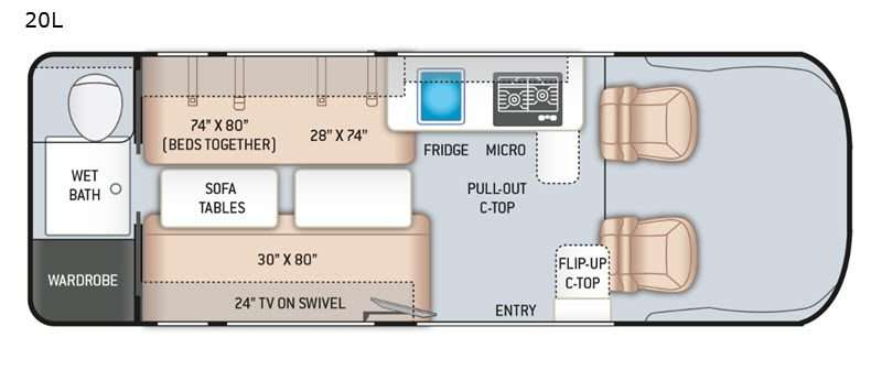 A diagram of the Thor Sequence class b motorhome 20L floorplan. A galley kitchen is situated behind the driver's seat while a flip-up counter top is behind the passenger seat. Mid-cabin, two couches sit on opposite sides with removable sofa tables between them. At the rear of the RV is a wet bath with wardrobe space.