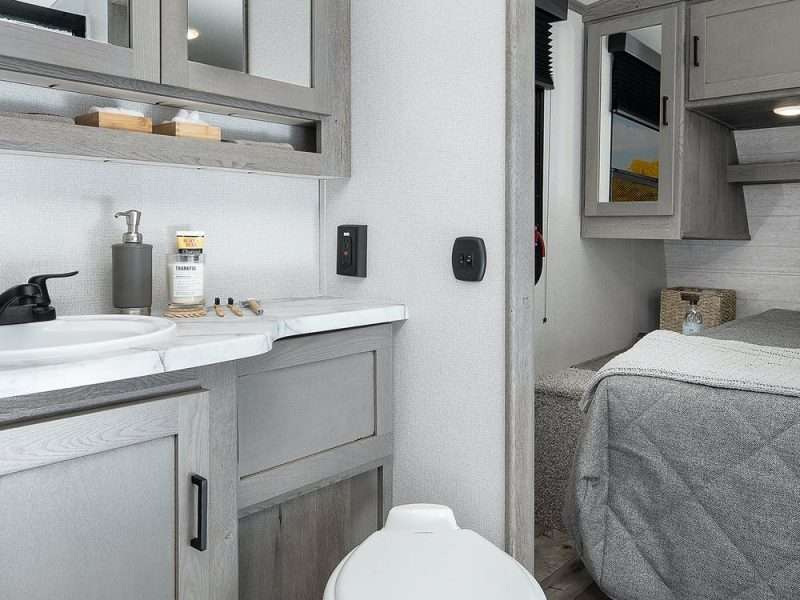 A view from the bathroom into the master bedroom.