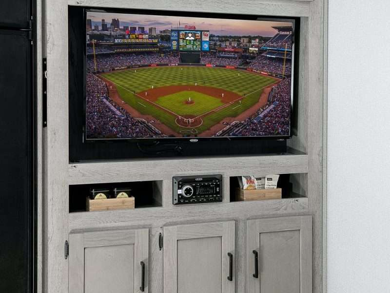 The entertainment center of the Keystone 291UBH has a built-in TV cabinet.