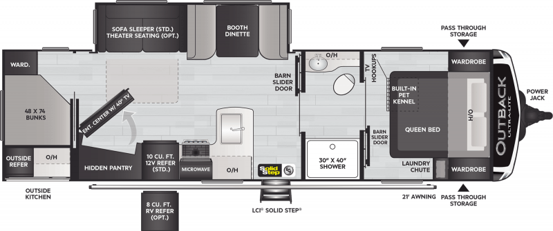 A diagram of the Keystone Outback Ultra Lite 291UBH travel trailer foorplan shows the master bedroom located at the front of the trailer and accessible through  a walk through bathroom. The space-saving layout includes a private bunkroom at the rear of the trailer. The rest of the space is occupied by kitchen and living areas.