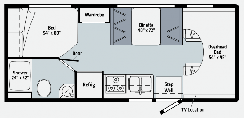 A diagram of the Winnebago Outlook 22E Class C Motorhome. Above the cab, there is an overhead bed. Mid-cabin, a booth dinette sits across from the galley. The bathroom is located at the rear of the coach.