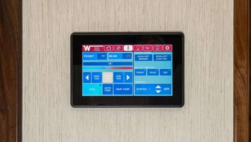 The Winnebago Connect control panel is an touch-screen system that allows you to monitor and control the RV's major systems.