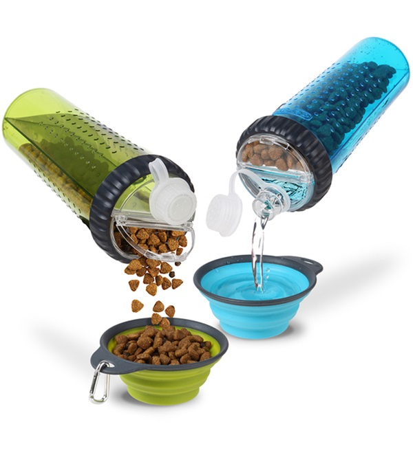 Dog camping accessory #4: Snack-Duo bottles hold water and food or treats in two separate compartments. Each compartment has an individual opening to keep items separated.