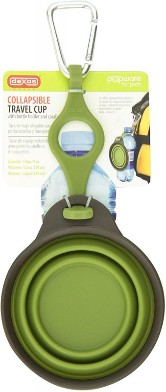 Dog camping accessory #2: A green Collapsible Travel Cup with Bottle Holder and Carabiner