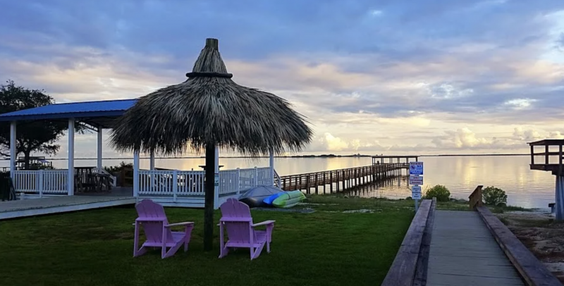 A beautiful view of the pier and Gulf from Emerald Beach RV Park.