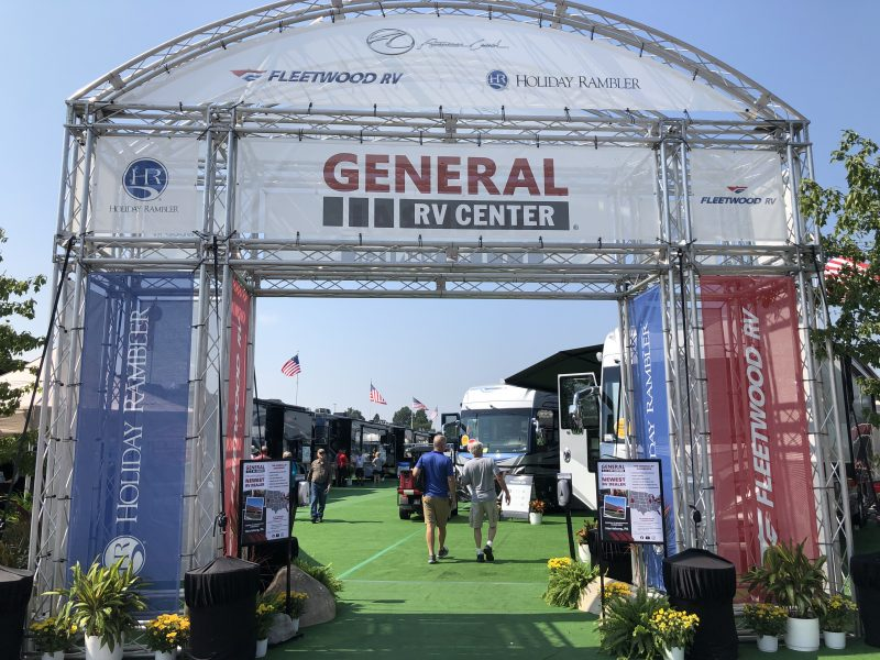 A large metal display marks the entrance to the General RV section at America's Largest RV Show in Hershey, Pennsylvania.