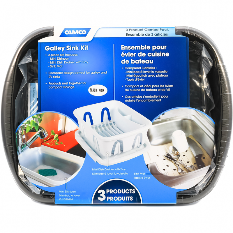 A Camco Galley Sink Kit in the original packaging. The sink kit includes a mini dishpan, mini dish drainer with tray and sink mat.