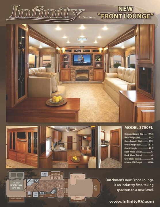 Contact General RV For The Best Price On This Infinity 3750FL By Dutchmen  RV Company